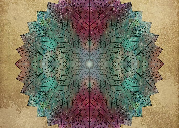 Mandala Greeting Card featuring the digital art Mandala Crystal by Filippo B