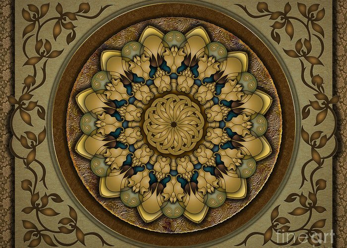 Mandala Greeting Card featuring the digital art Mandala Earth Shell Sp by Bedros Awak