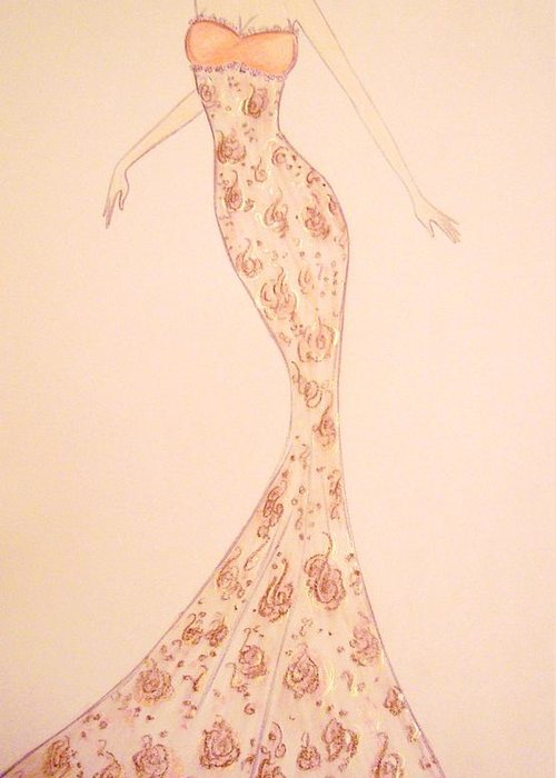 Damask Greeting Card featuring the drawing Mandarin Damask Gown by Christine Corretti