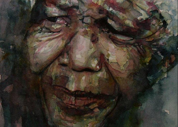 Mandela Greeting Card featuring the painting Mandela  by Paul Lovering