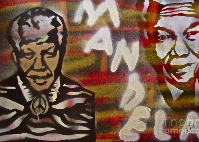 Nelson Mandela Greeting Card featuring the painting Mandela by Tony B Conscious