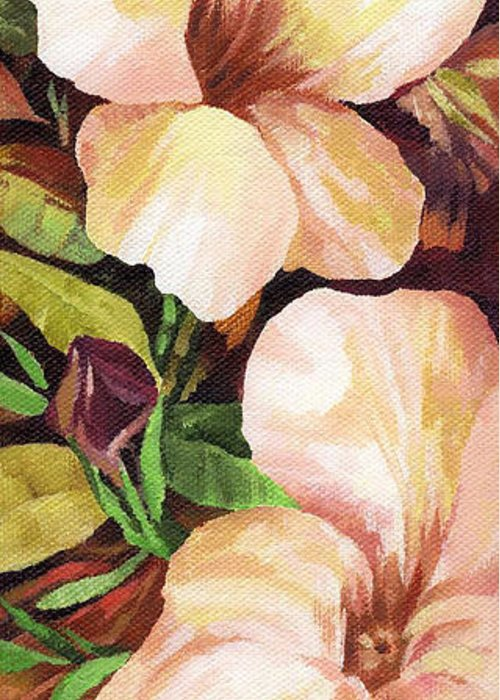 Mandevilla Greeting Card featuring the painting Mandevilla by Natasha Denger