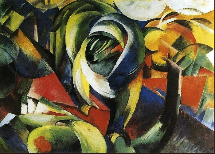 Franz Greeting Card featuring the painting Mandrill 1913 by Franz Marc
