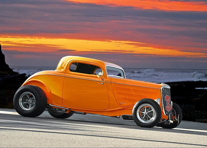 Coupe Greeting Card featuring the photograph Mango Madness 1933 Ford Hiboy Coupe by Dave Koontz