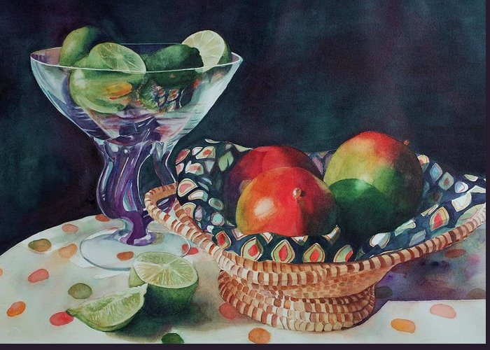 Still Life Greeting Card featuring the painting Mango With A Twist Of Lime by Leslie Berman
