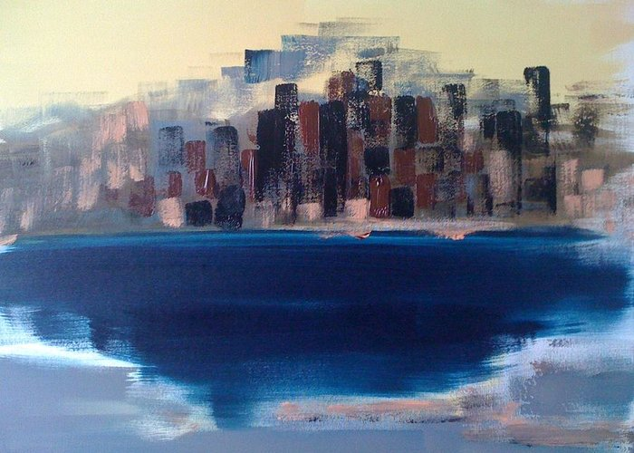 Cities Greeting Card featuring the painting Manhattan Au Decollage De Teterboro by Danielle Landry