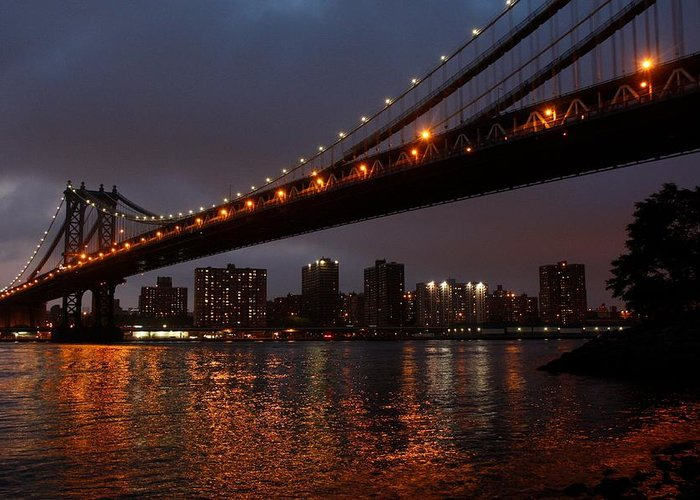 Bridge Greeting Card featuring the photograph Manhattan Bridge by Mary Ann Teschan