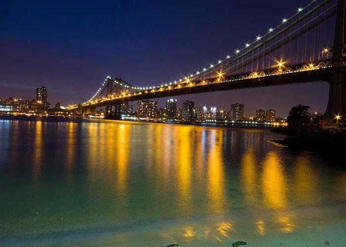 America Greeting Card featuring the glass art Manhattan Bridge by Mircea Costina Photography