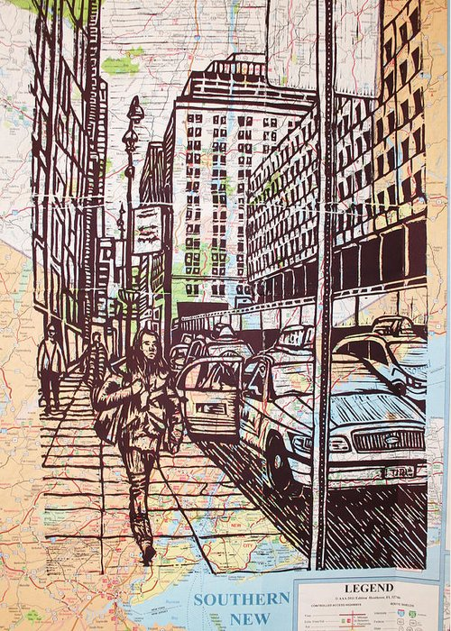 Nyc Greeting Card featuring the drawing Manhattan On Map by William Cauthern