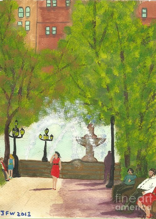 Manhattan Park Greeting Card featuring the painting Manhattan Park 2 by John Williams