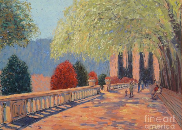 Landscape Greeting Card featuring the painting Manhattan Park by Monica Caballero