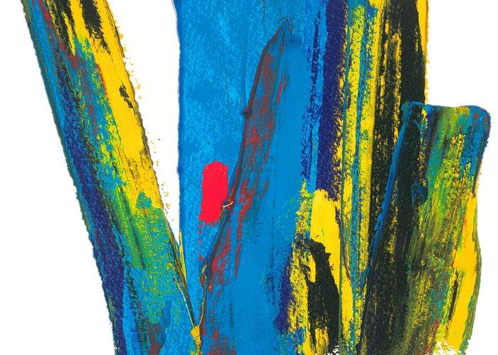 Contemporary Greeting Card featuring the painting Manhattan Skyline by Bjorn Sjogren