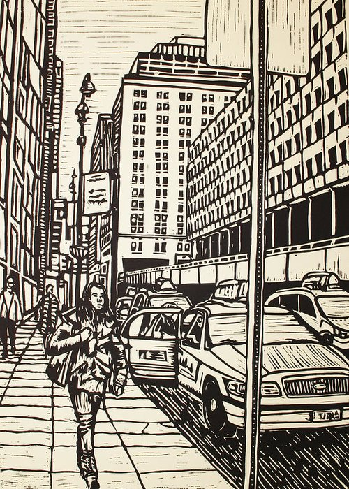 Nyc Greeting Card featuring the drawing Manhattan by William Cauthern