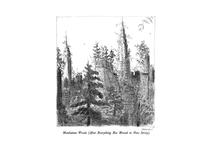 Manhattan Woods (after Everything Has Moved To New Jersey)  Manhattan Woods (after Everything Has Moved To New Jersey): Title. Skyscrapers Are Overgrown Greeting Card featuring the drawing Manhattan Woods by James Stevenson