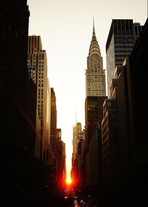 New York City Greeting Card featuring the photograph Manhattanhenge Sunset and the Chrysler Building by Vivienne Gucwa
