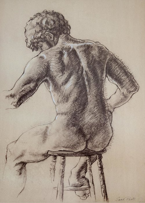 Figurative Greeting Card featuring the drawing Man's Back by Sarah Parks