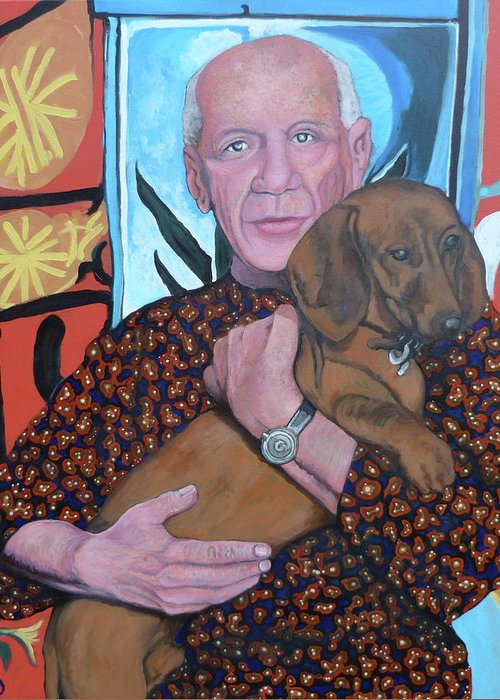 Man's Best Friend Greeting Card featuring the painting Man's Best Friend by Tom Roderick