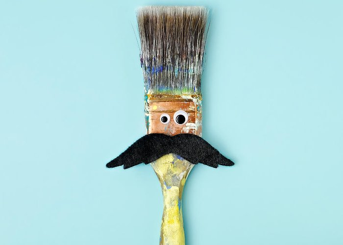 Work Tool Greeting Card featuring the photograph Mans Face Crafted Onto Paintbrush by Juj Winn