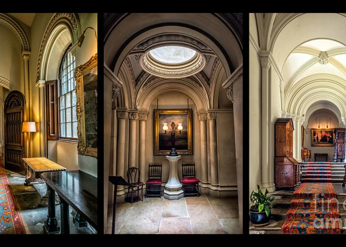British Greeting Card featuring the photograph Mansion Hallway Triptych by Adrian Evans
