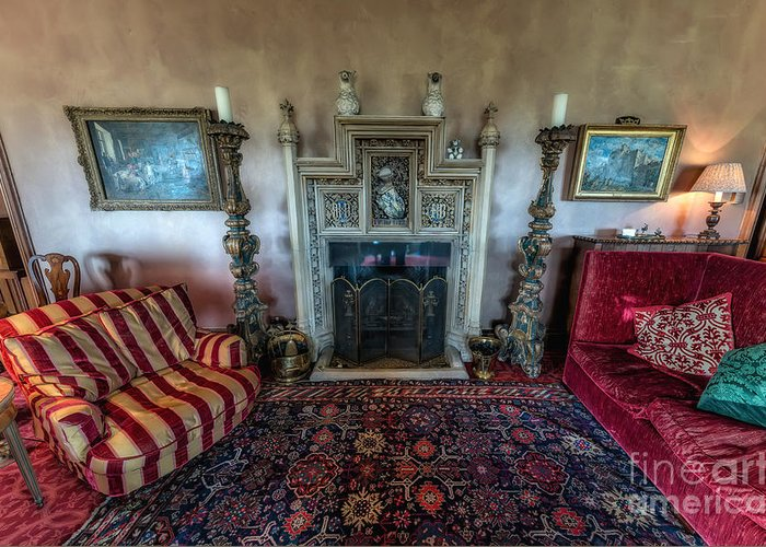British Greeting Card featuring the photograph Mansion Sitting Room by Adrian Evans