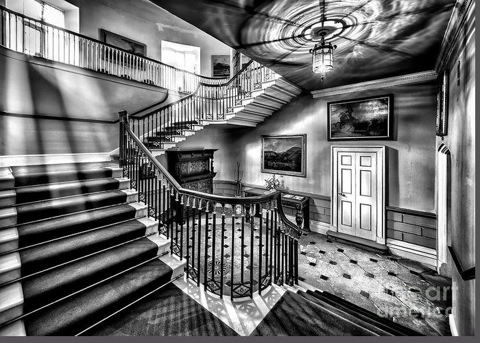 British Greeting Card featuring the photograph Mansion Stairway V2 by Adrian Evans