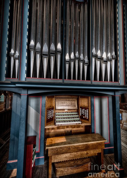 Organ Greeting Card featuring the photograph Manual Pipe Organ by Adrian Evans