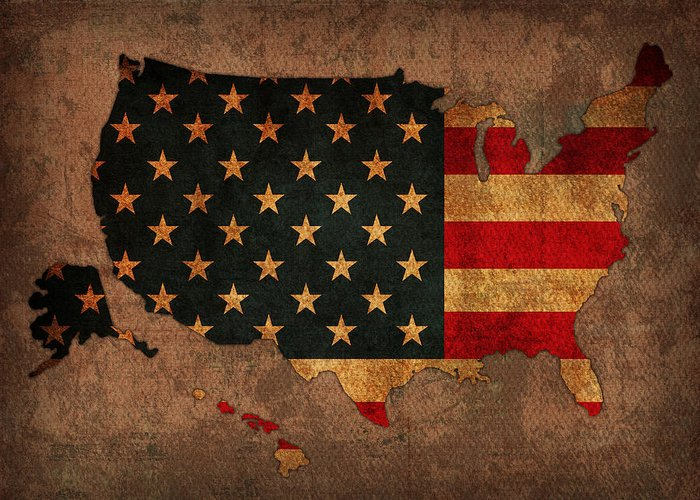 America Map Mixed Media Greeting Cards