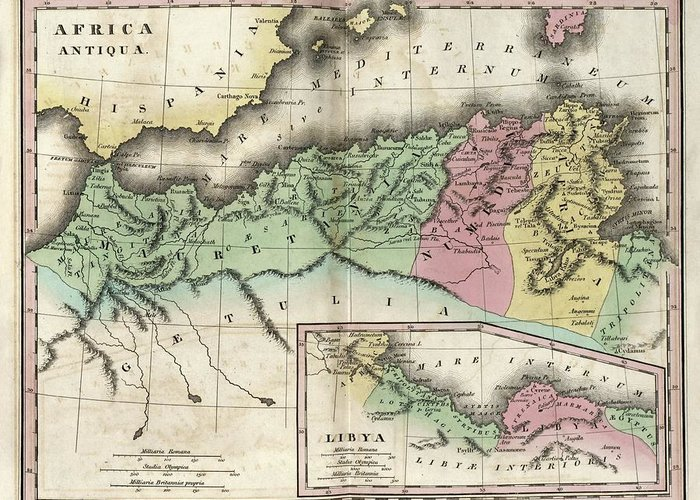 Map Of Ancient North Africa Greeting Card for Sale by Library Of