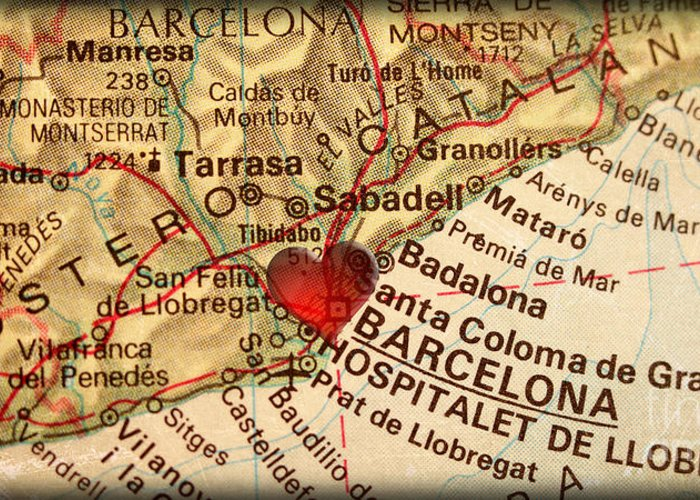Map Of Barcelona Spain Espana Europe In A Antique Distressed Vin Photograph By Elite Image Photography By Chad Mcdermott