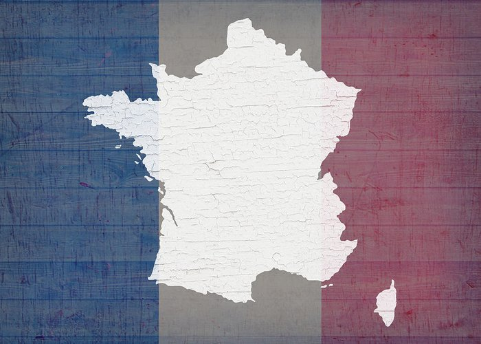 Map Of France In French.Map Of France In White Old Paint On French Flag Barn Wood Greeting Card
