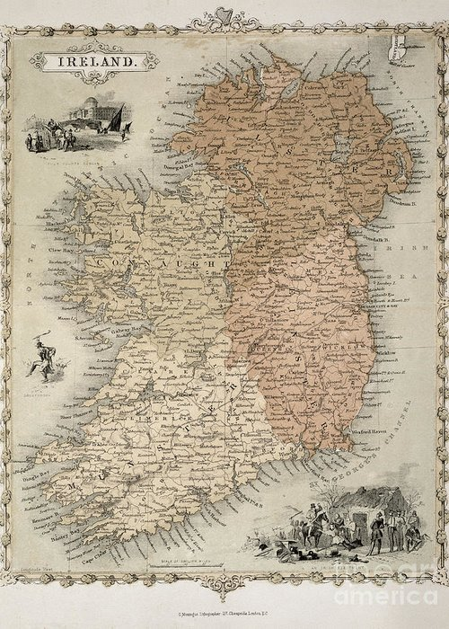 Eire Greeting Card featuring the painting Map Of Ireland by C Montague
