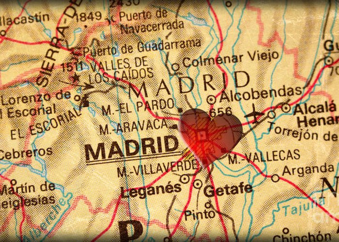 Map Of Madrid Spain Espana Europe In A Antique Distressed Vintag Greeting  Card