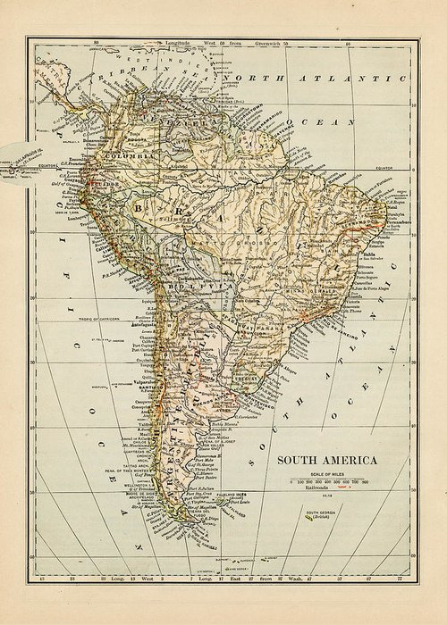 Burnt Greeting Card featuring the photograph Map Of South America 1875 by Thepalmer
