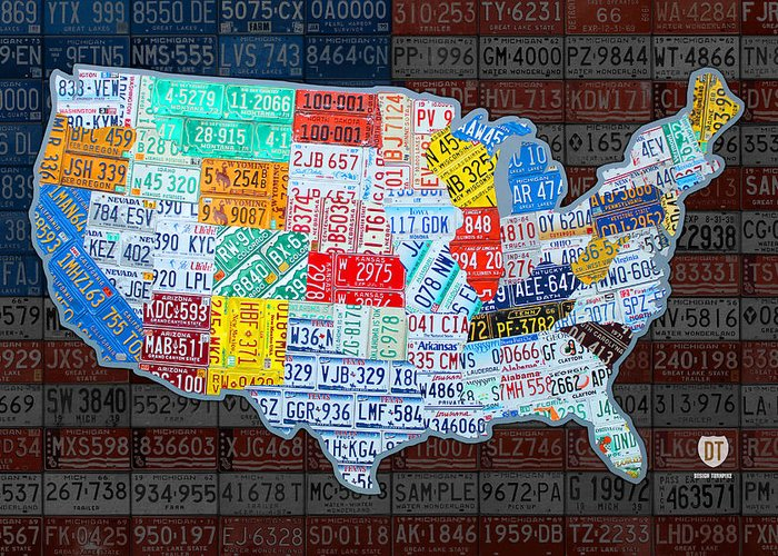 Map Of The United States In Vintage License Plates On American - Us map license plate puzzle