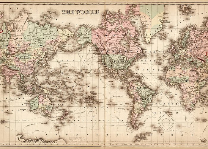 Globe Greeting Card featuring the digital art Map Of The World 1855 by Thepalmer