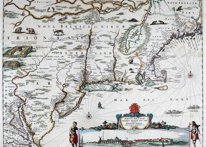 Map Greeting Card featuring the mixed media Map Of Virginia - 1665 by Charlie Ross
