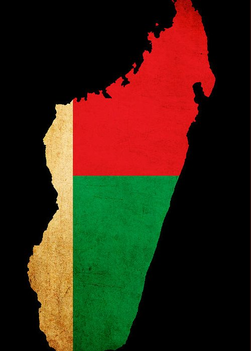 Flag Greeting Card featuring the photograph Map Outline Of Madagascar With Flag Grunge Paper Effect by Matthew Gibson