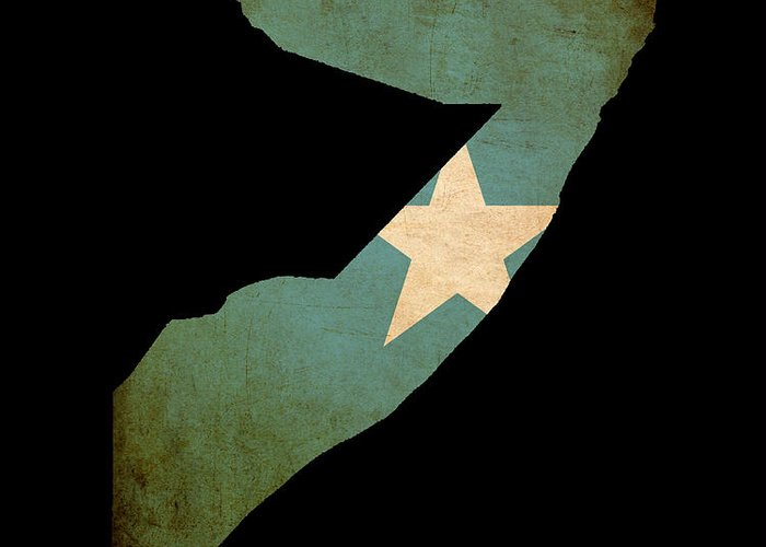 Flag Greeting Card featuring the photograph Map Outline Of Somalia With Flag Grunge Paper Effect by Matthew Gibson