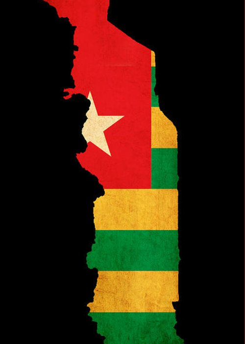 Flag Greeting Card featuring the photograph Map Outline Of Togo With Flag Grunge Paper Effect by Matthew Gibson