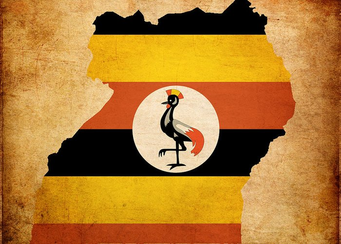 Flag Greeting Card featuring the photograph Map Outline Of Uganda With Flag Grunge Paper Effect by Matthew Gibson