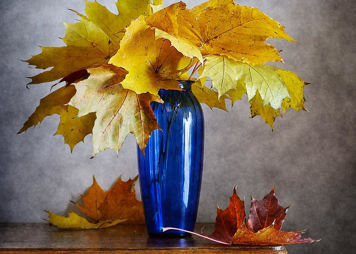 Still Life Greeting Card featuring the photograph Maple Leaves In Blue Vase by Nikolay Panov