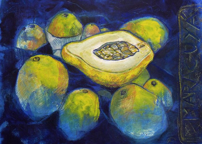 Passion Greeting Card featuring the mixed media Maracuya/passion Fruit by Andrea Montano