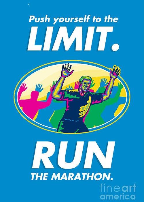 Poster Greeting Card featuring the digital art Marathon Runner Push Limits Poster by Aloysius Patrimonio