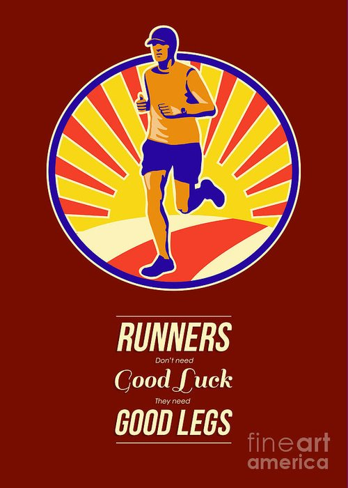 Poster Greeting Card featuring the digital art Marathon Runner Retro Poster by Aloysius Patrimonio