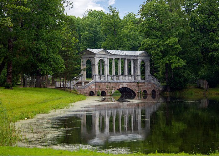Ancient Greeting Card featuring the photograph Marble Bridge In The Park Tsarskoye Selo by Rostislav Bychkov