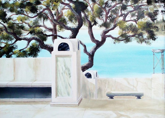 Landscape Greeting Card featuring the painting Marble Courtyard by Scott Alcorn
