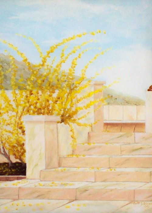 Landscape Greeting Card featuring the painting Marble Steps by Scott Alcorn