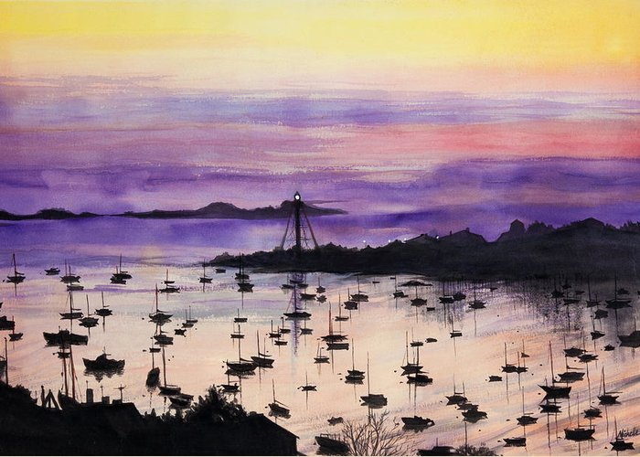 Marblehead Greeting Card featuring the painting Marblehead Sunset Watercolor by Michelle Wiarda-Constantine