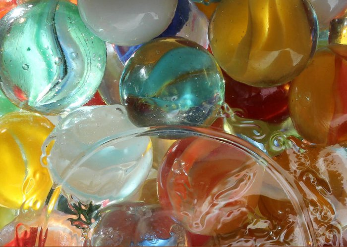 Marble Greeting Card featuring the photograph Marbles In A Jar by Mary Bedy