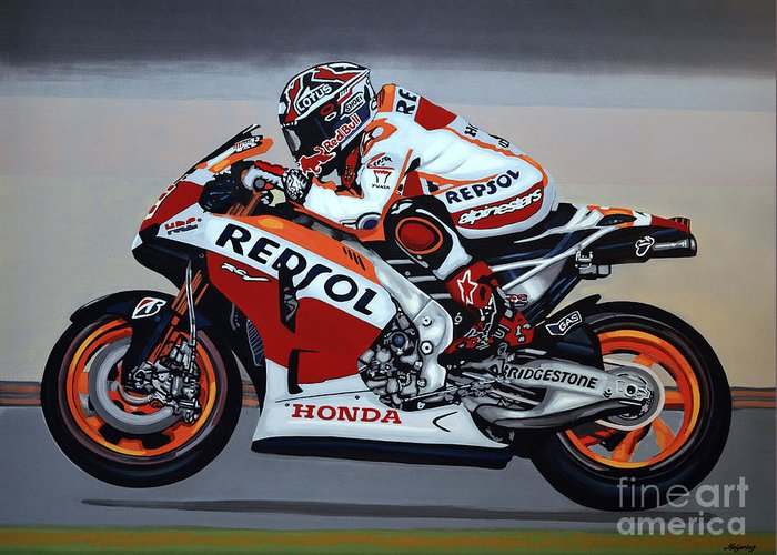 Marc marquez greeting card for sale by paul meijering marc marquez greeting card featuring the painting marc marquez by paul meijering m4hsunfo